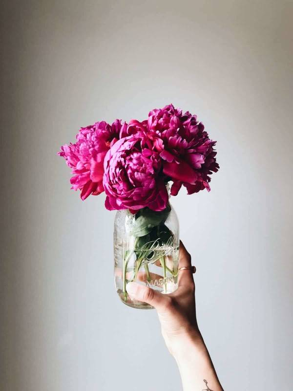 Pink peonies in a jar.