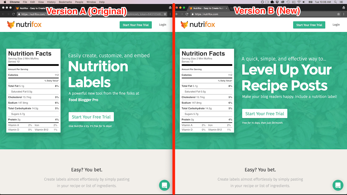 A/B Test on Nutrifox Home Page