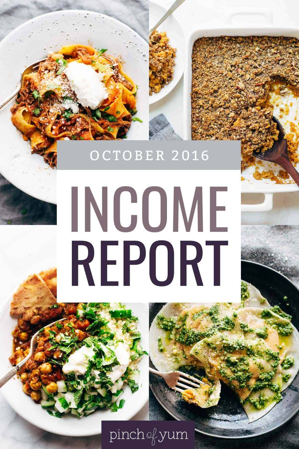 October Traffic and Income Report | pinchofyum.com