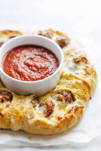 Cheesy Meatball Pull-Apart Pizza Ring Recipe - Pinch of Yum