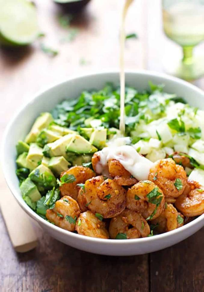 Shrimp and Avocado Salad with Miso Dressing Recipe - Pinch