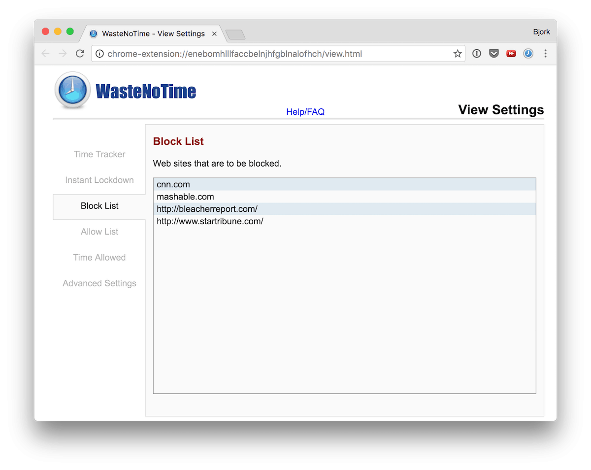 WasteNoTime Block List