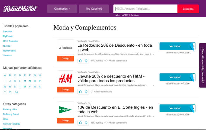 retailmenot, retail, commerce, commerce, marketplace, tienda online, moda, complementos, calzado
