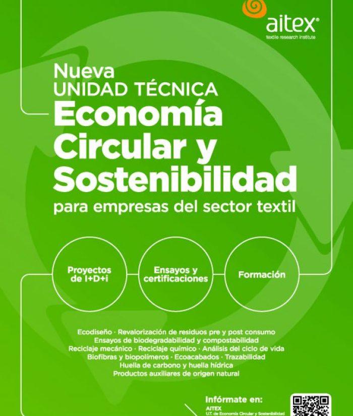 AITEX, Asociación de Investigación de la Industria Textil,  Unidad Técnica de Economía Circular y Sostenibilidad, strategia Española de Economía Circular 2030, Green Deal