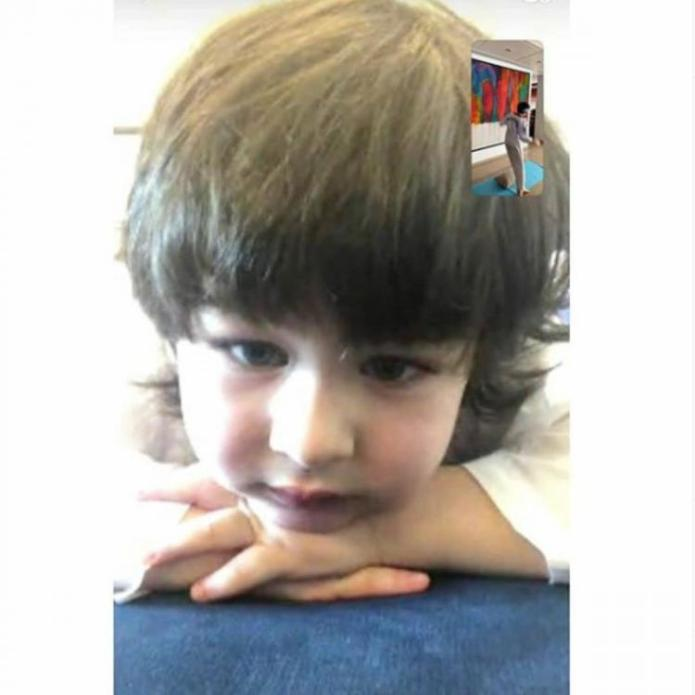 Taimur Ali Khan's expression in a video call with cousin Kiaan in photo shared by Kareena Kapoor is priceless