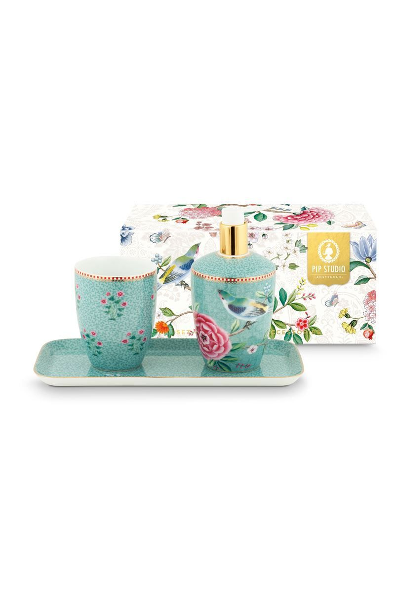 Blue Bathroom Accessories Bathroom Accessories Set Floral Good Morning Blue