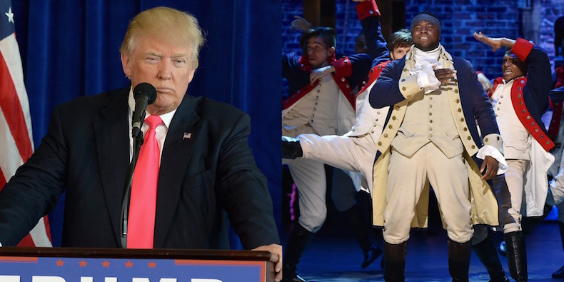 Image result for donald trump hamilton cast