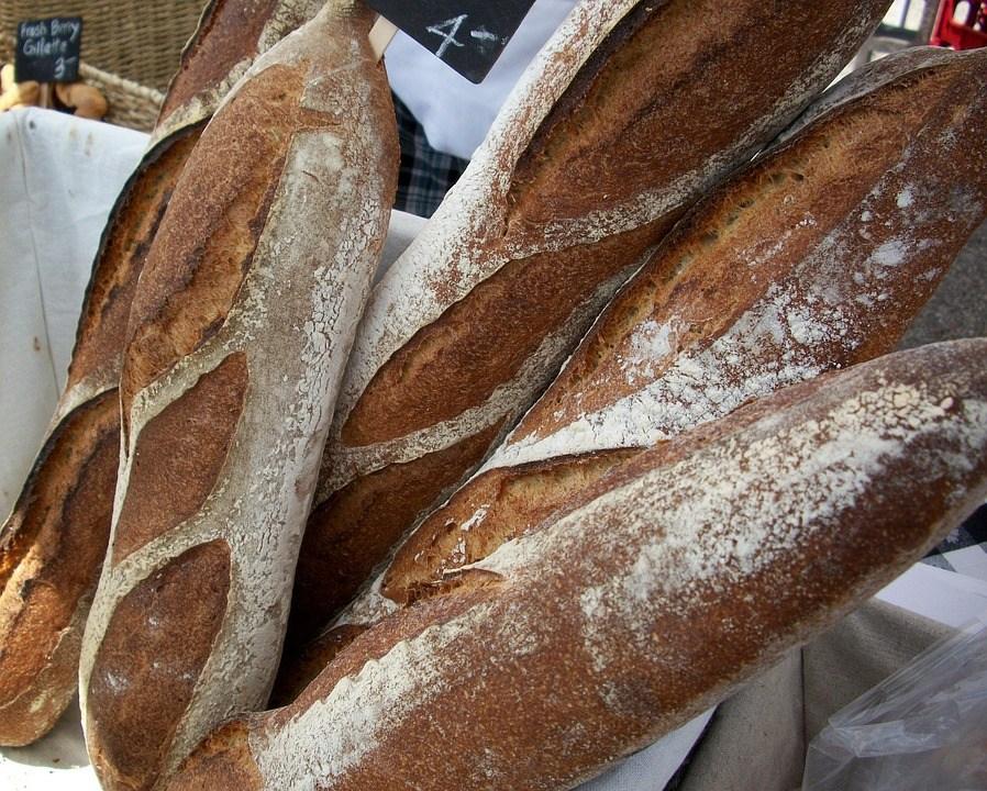 バゲット, パン, フランス, 職人, 新鮮な, ベーカリー, ブラウン, 小麦, 有機, 焼いた, 朝食