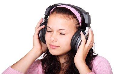Cute, Female, Girl, Headphones, Isolated