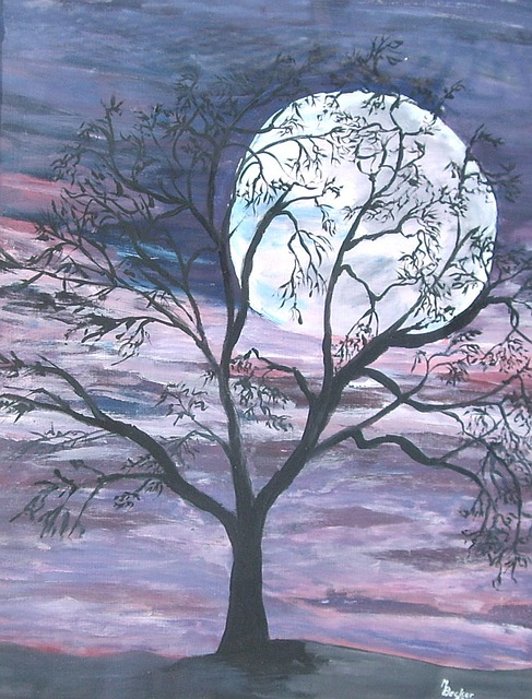 Free illustration Moon Full Moon Tree Night  Free
