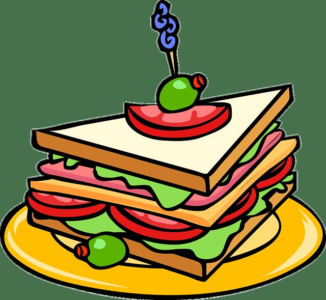 Gambar vektor gratis Sandwich Makanan Keju Segi Tiga