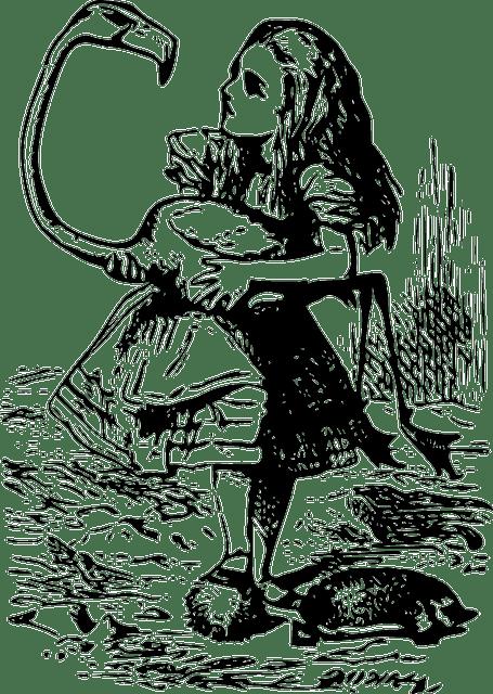 Free vector graphic: Alice In Wonderland, Flamingo, Girl