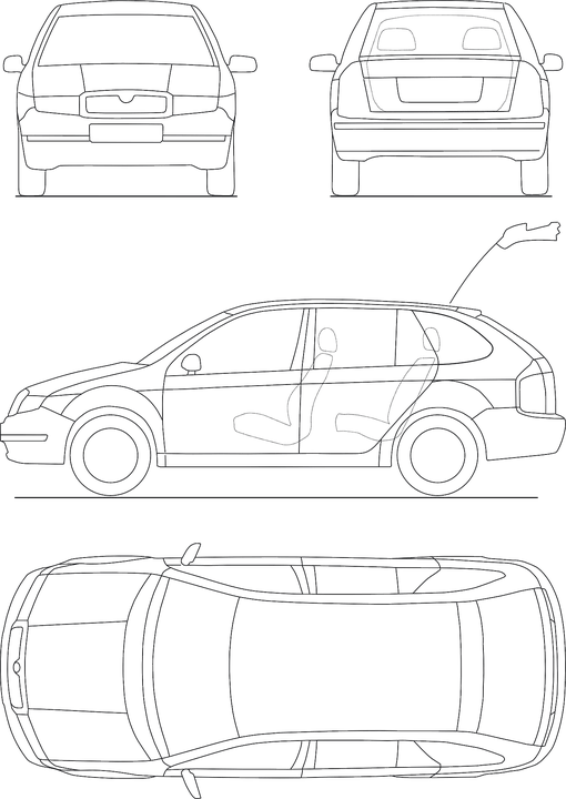 Blueprint Automobile Technical · Free vector graphic on