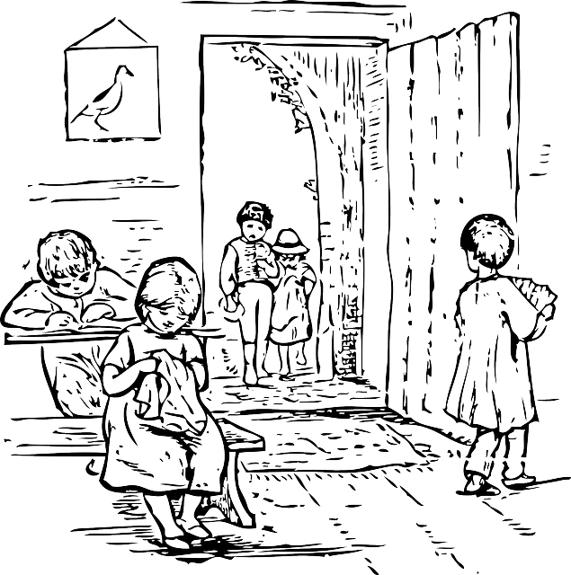 Library School Children Reading · Free vector graphic on