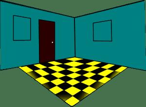 무료 벡터 그래픽: 룸 내부 블루 벽 블랙 황색 타일 코너 창문 문 Pixabay의 무료 이미지 34359