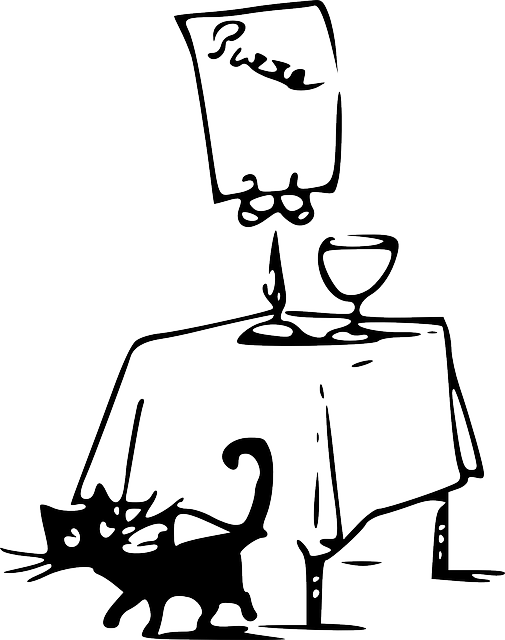 Free vector graphic: Cat, Black, Pizza, Table, Tom, Bad
