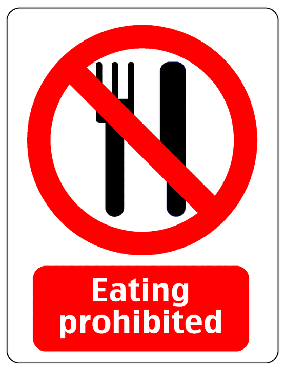 Free vector graphic Notice Warning Eating Prohibited
