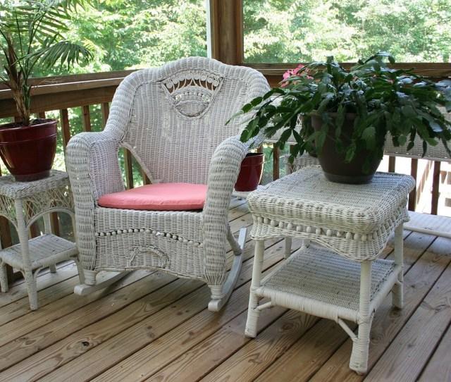 Wicker Rocking Chair Porch White Table Wicker Home  C B Public Domain