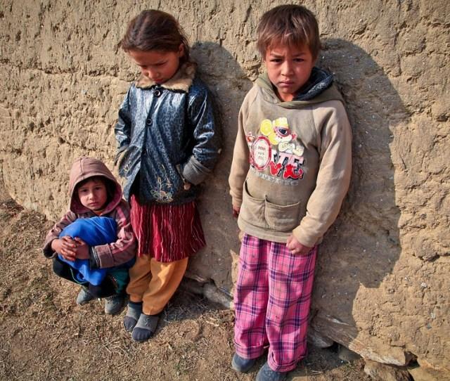 Children Poor Mud Village Kids Poverty Young Girl