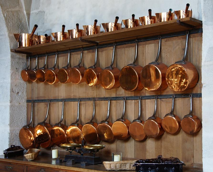 pot racks for kitchen island ikea 厨房铜花盆 pixabay上的免费照片 厨房 铜 花盆 锅 架 内 室内 挂 烹饪工具