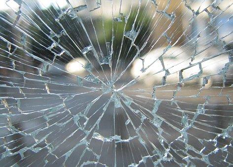 ガラス, ウィンドウ, 壊れた, ひびの入った, 粉々 になった, 強化された