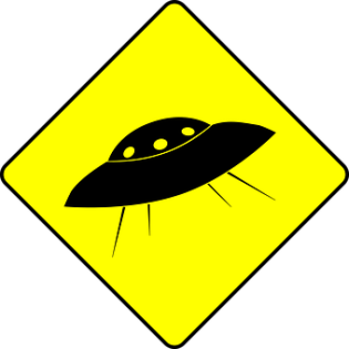 Ufo, Humor, Flying Saucer, Road Sign