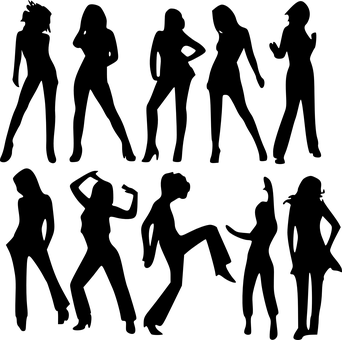 Women's silhouettes in various postures