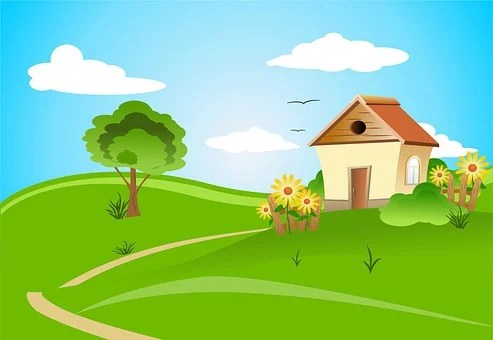 家, 田舎, アーキテクチャ, デザイン, フィールド, 村, 風景, 雲, 夏