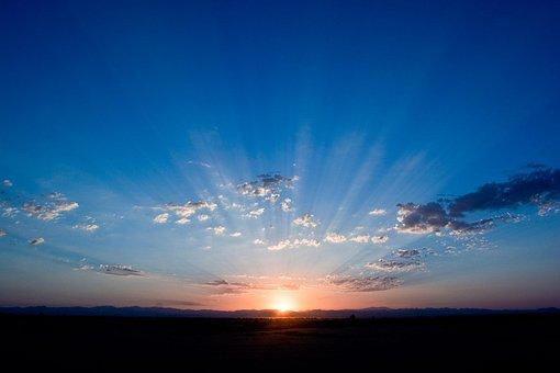Sunrise, Sky, Blue, Sunlight, Clouds