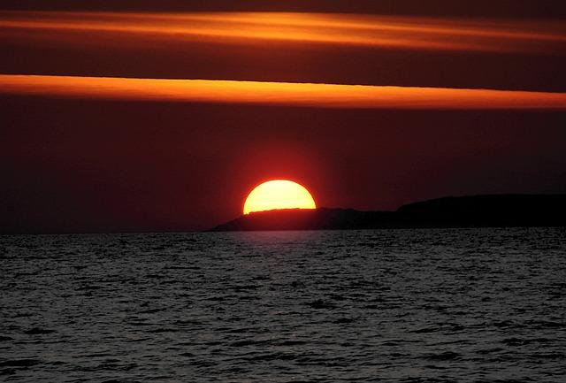 Free photo Sun Sunset Abendstimmung Sea  Free Image