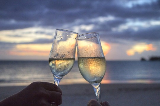 Glasses, Sparkling Wine, Cheers, Sun Set, Evening