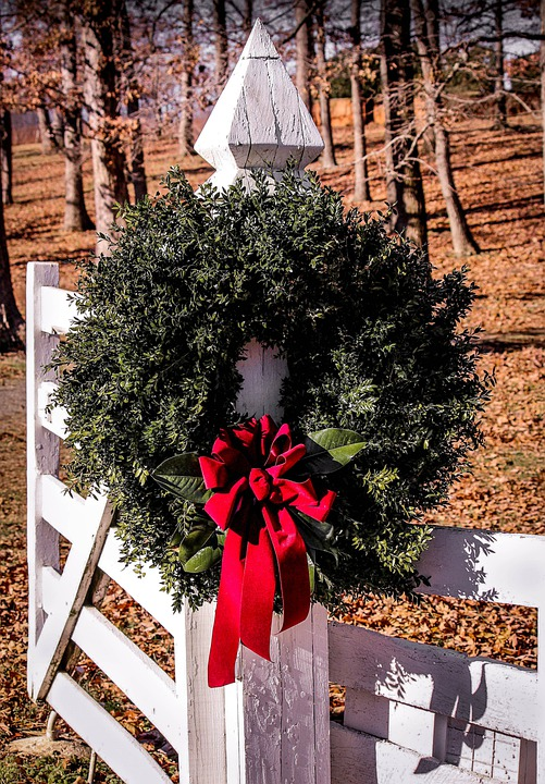 Christmas Wreath Gate Boxwood Free Photo On Pixabay