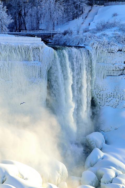 Free photo Bridal Veil Falls Niagara Winter  Free