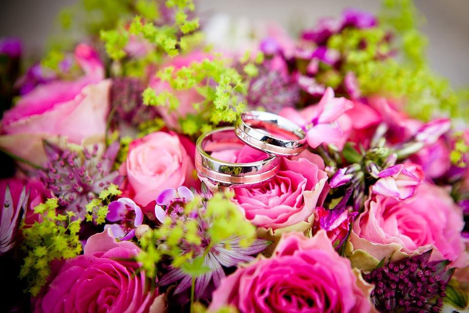 花, 結婚式, 結婚指輪, 花束, 花柄, 祝賀, ロマンチック, ロマンス, ブライダル, 式, 配置