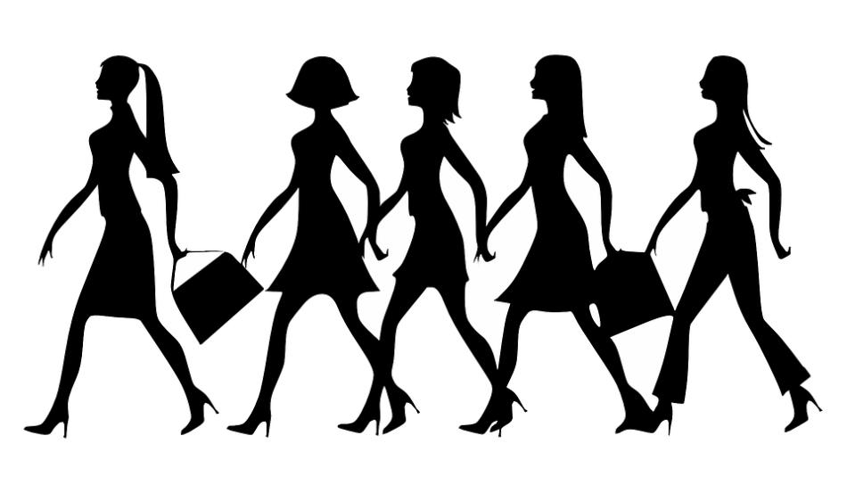 Silhouette, Women, Work, Walking, Strut, Handbags