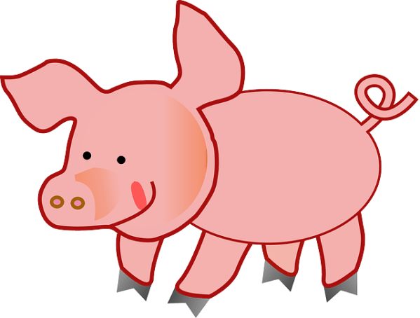 pink pig fat free vector graphic
