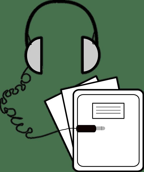 โน๊ตบุ๊ค บันทึก หูฟัง · กราฟิกแบบเวกเตอร์ฟรีบน Pixabay