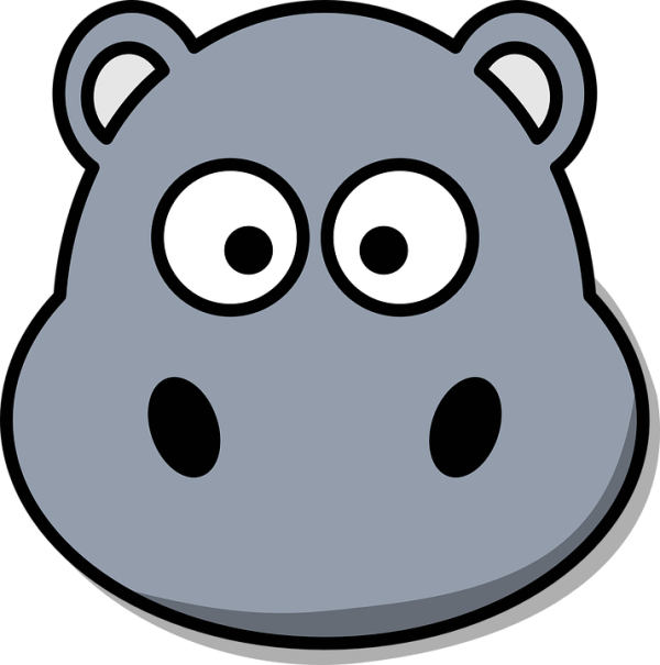 Free vector graphic Hippo Head Cartoon Cute Grey