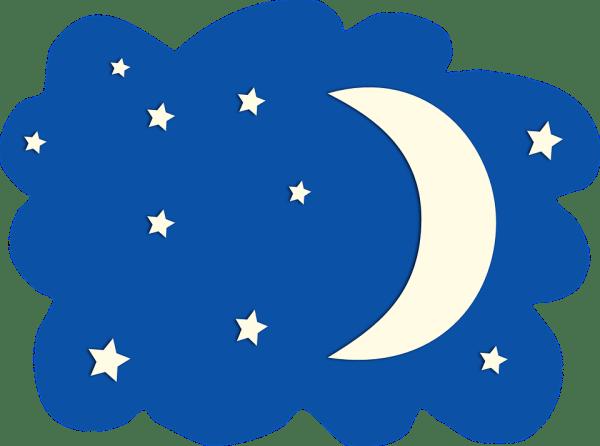 moon stars sky free vector graphic