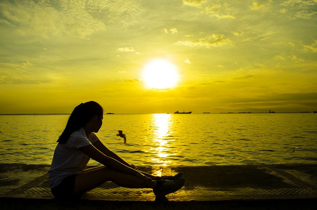 Sad Girl With Guitar Wallpaper Free Photo Girl Sitting Sunset Rest Relax Free