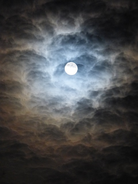 Free photo Moon Blurry Clouds Blue  Free Image on
