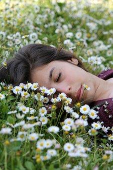 Sleep, Rest, Face, Girl, Woman, Prato