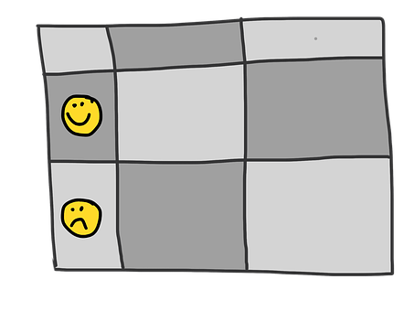 A comparison advantage table showing dark and grey squares, two of them showing yellow emoticons, one smiling, the other sad.