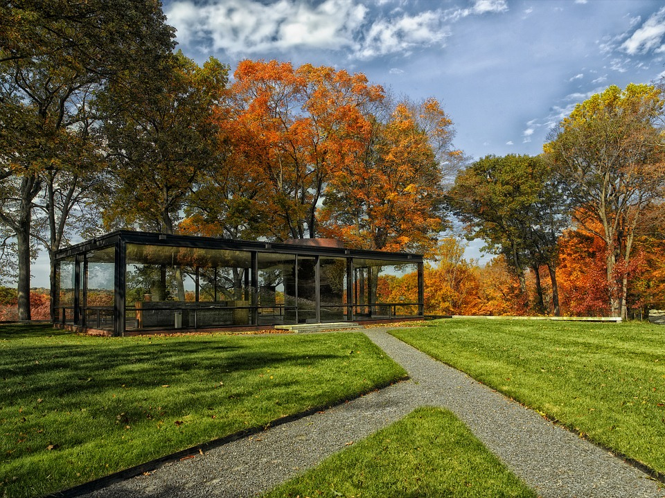 Fall Wallpaper With Blue Philip Johnson Glass House Home 183 Free Photo On Pixabay