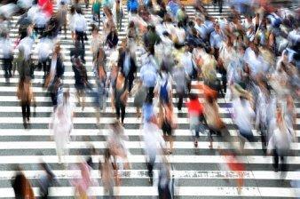 Fußgänger Menschen Beschäftigt Bewegung He