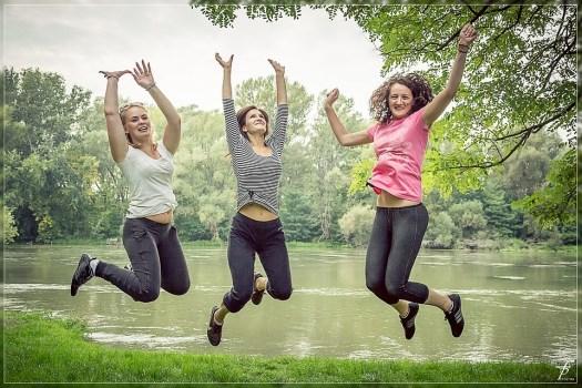 Jumping, Persone Felici, Femminile, Donna, Bella, Park
