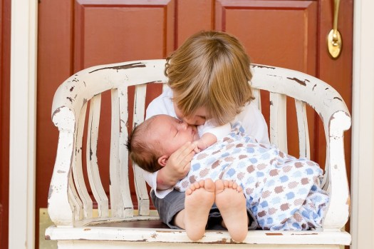Fratelli, Ragazzi, Bambini, Bambino, Neonato, Amore