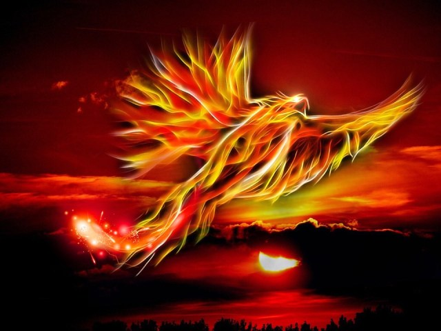 フェニックス, 鳥, 火, 太陽, 明るい赤, 金, 神話の鳥, タロットの庭, 空, 雲, 翼, スイング