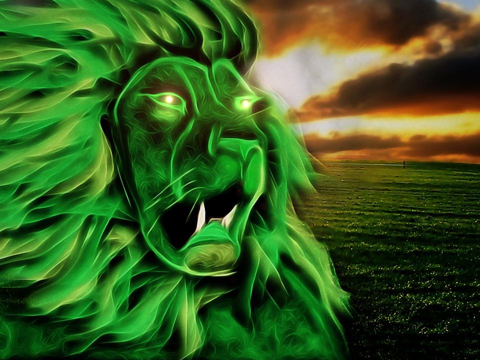 3d Black Background Wallpaper Free Illustration Lion Mythical Animal Landscape Free