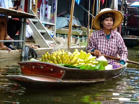 Thailand, Plantains, Market, Floating